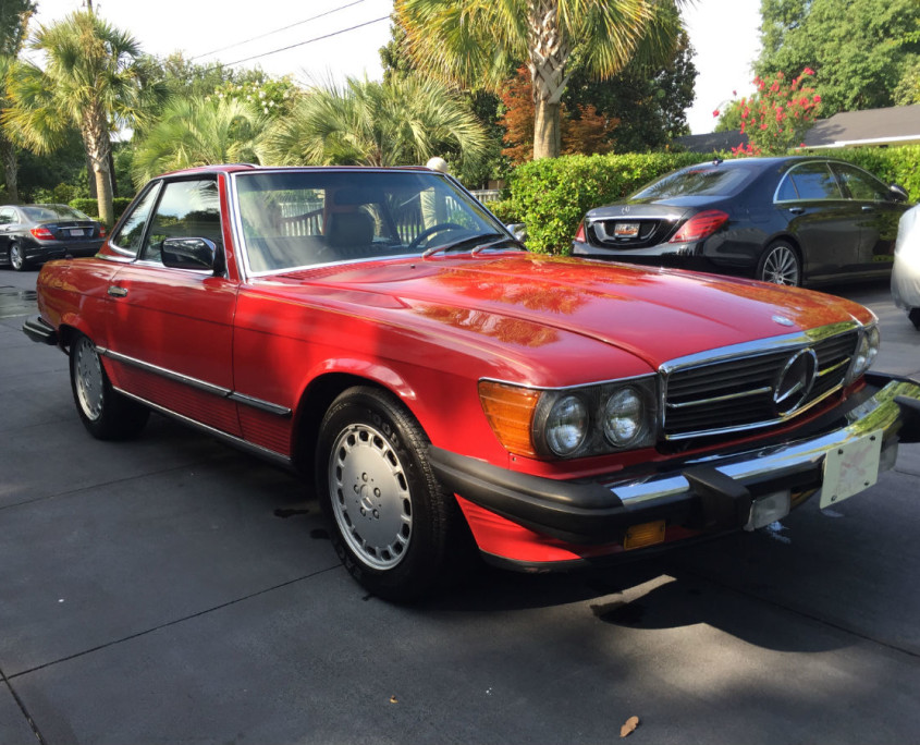 mercedes w107 560sl red front