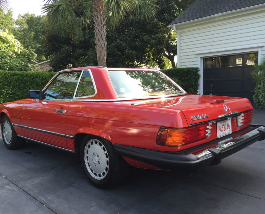 mercedes w107 560sl red rear
