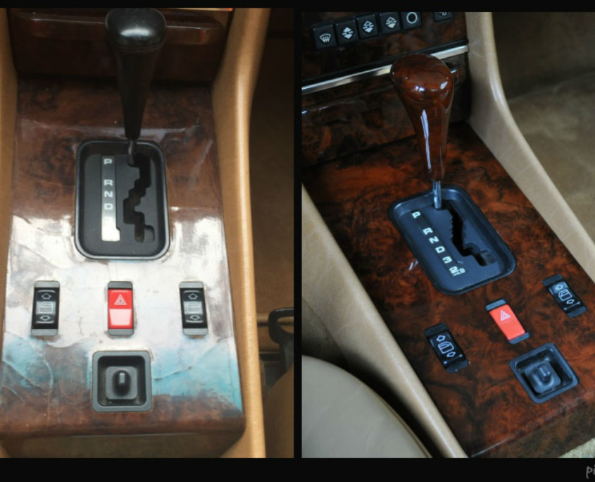 mercedes w107 burl wood trim befor and after